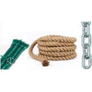 Cadenas, cuerdas y cinta de amarre